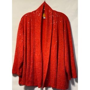 Ruby Road Woman 2X Coral Sequined Open Cardigan